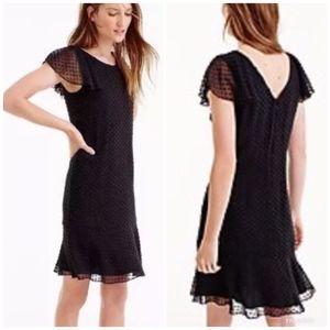 [J. Crew] Silk Dot Ruffle Dress Textured